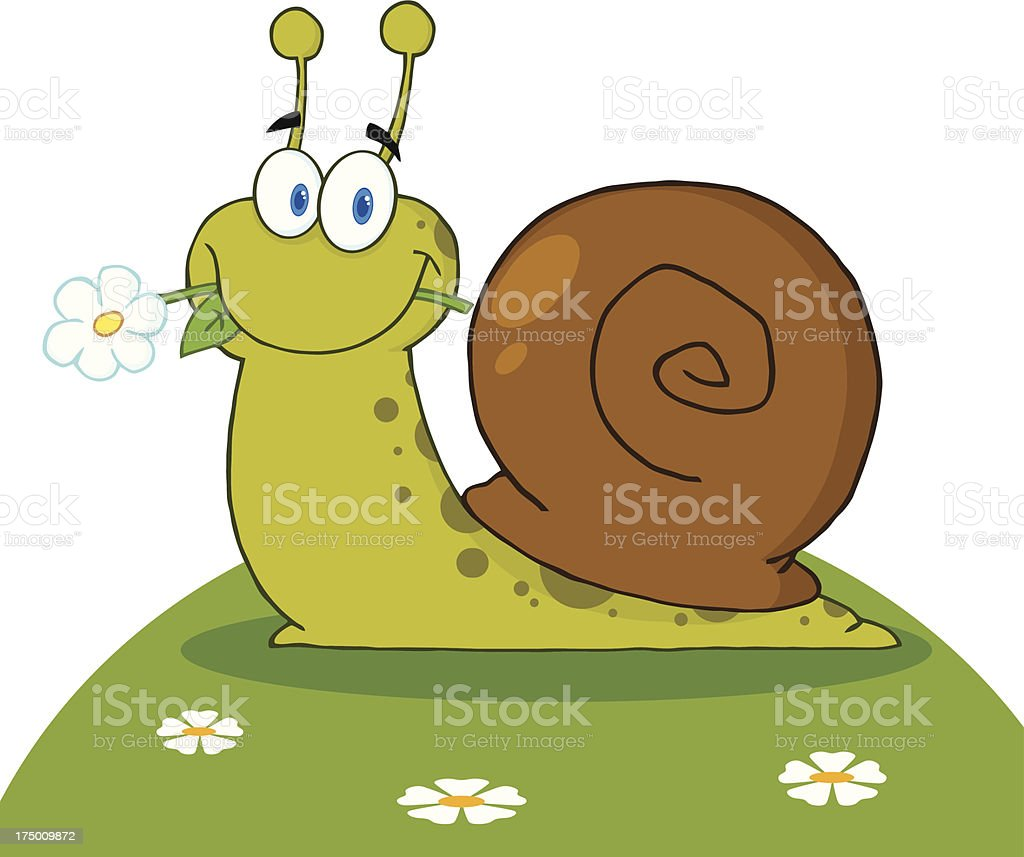 Snail With A Flower In Its Mouth On Hill royalty-free stock vector art