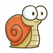Funny and cute snail with big eyes smiling - vector