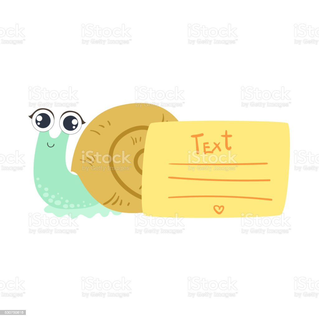 snail with the template for the message stock vector art 530750816