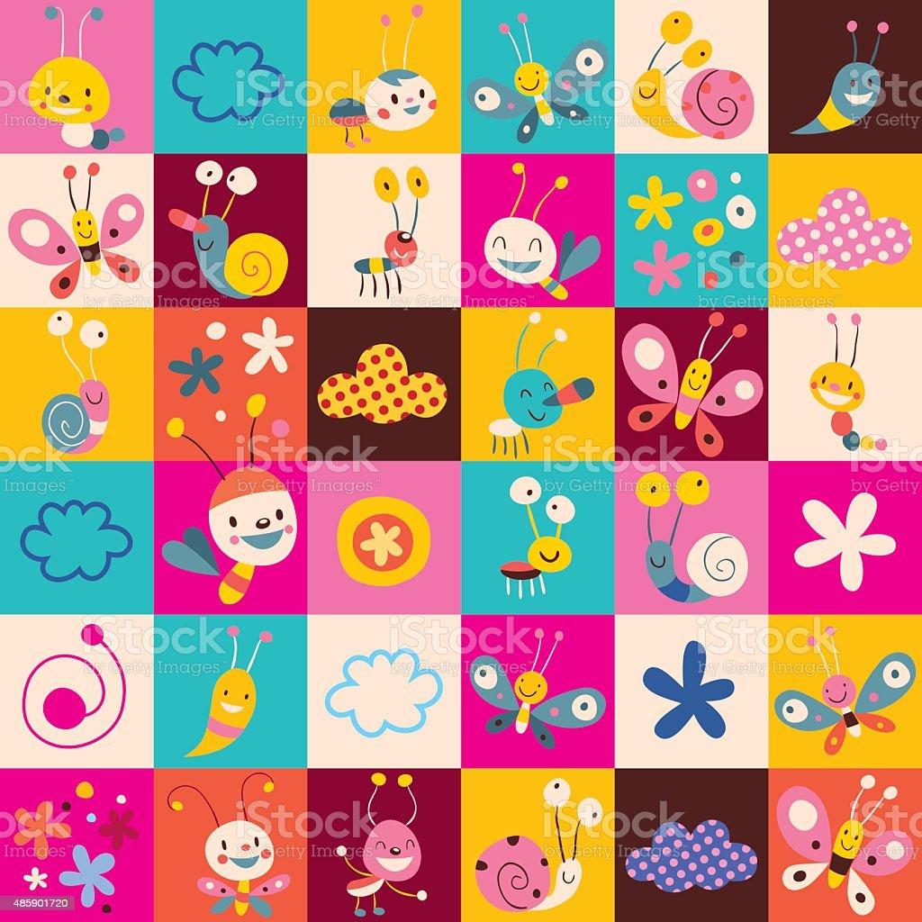 巻き貝昆虫蝶花の子供模様 - 201...