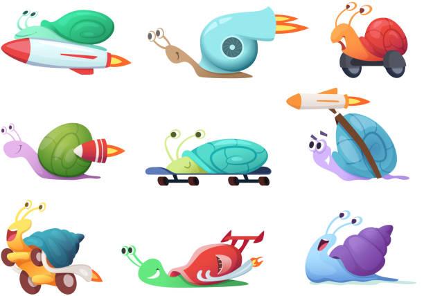 schnecken comic-figuren. langsame meeresschnecke oder caracoles vektor-illustrationen - lustige schnecken stock-grafiken, -clipart, -cartoons und -symbole