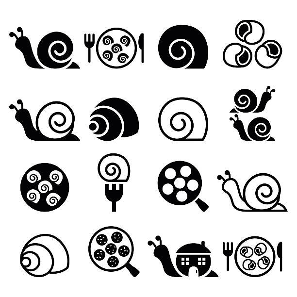 snails, french snail meal - escargot icons set - snail stock illustrations