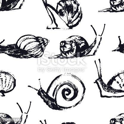 Snails Hand drawing Seamless pattern set