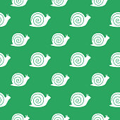Vector seamless pattern of white snails on a green background.