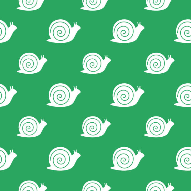 snails seamless pattern - snail stock illustrations