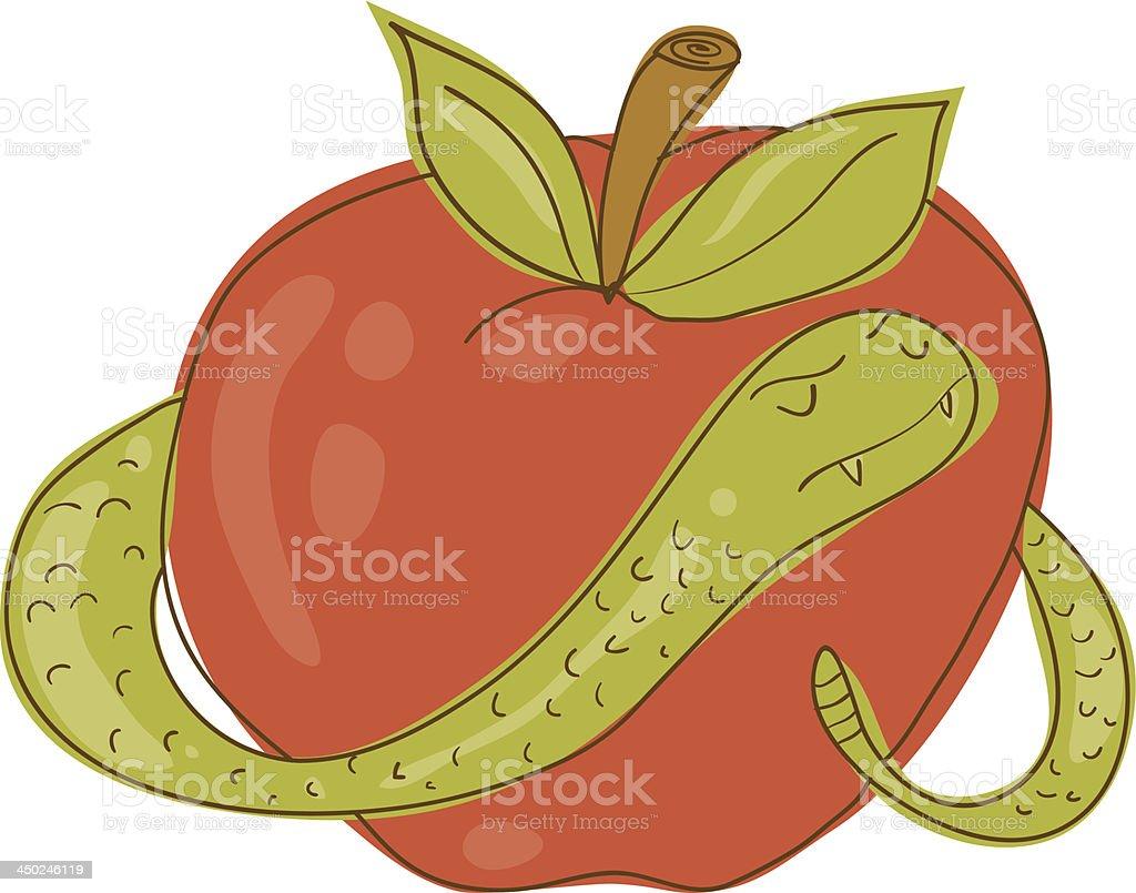 Snake und Apple Gekritzel – Vektorgrafik