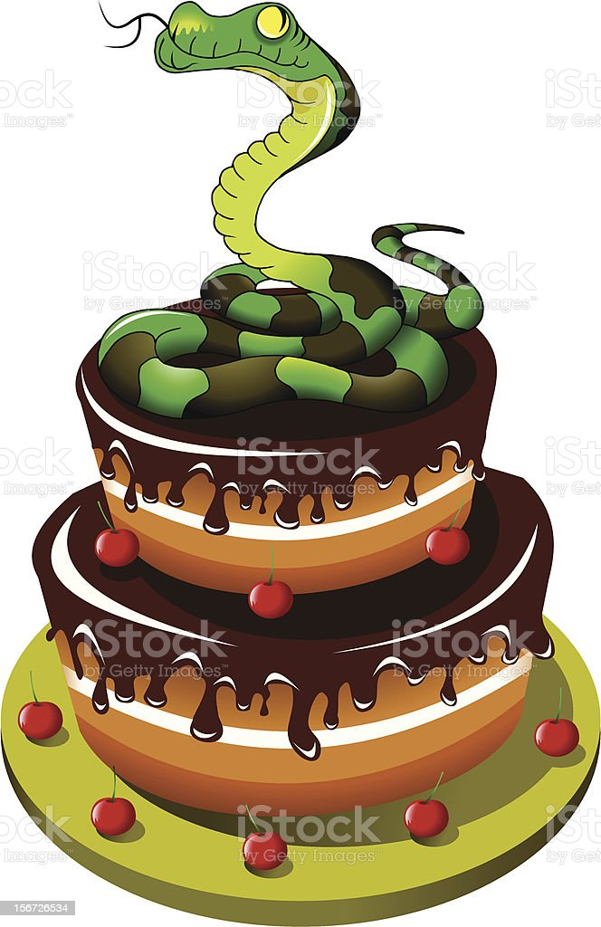 snake and cake royalty-free stock vector art