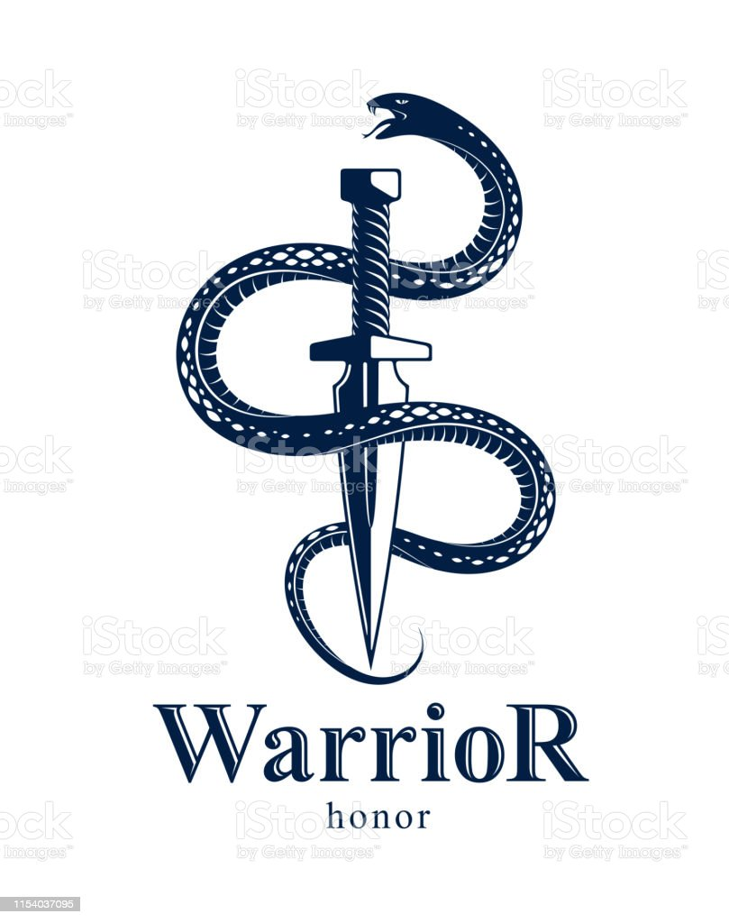 Snake And Dagger Serpent Wraps Around A Sword Vector Vintage