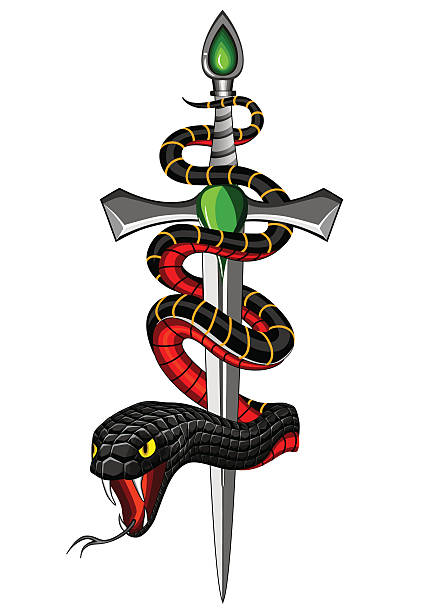 snake and dagger - snakes tattoos stock illustrations, clip art, cartoons, & icons