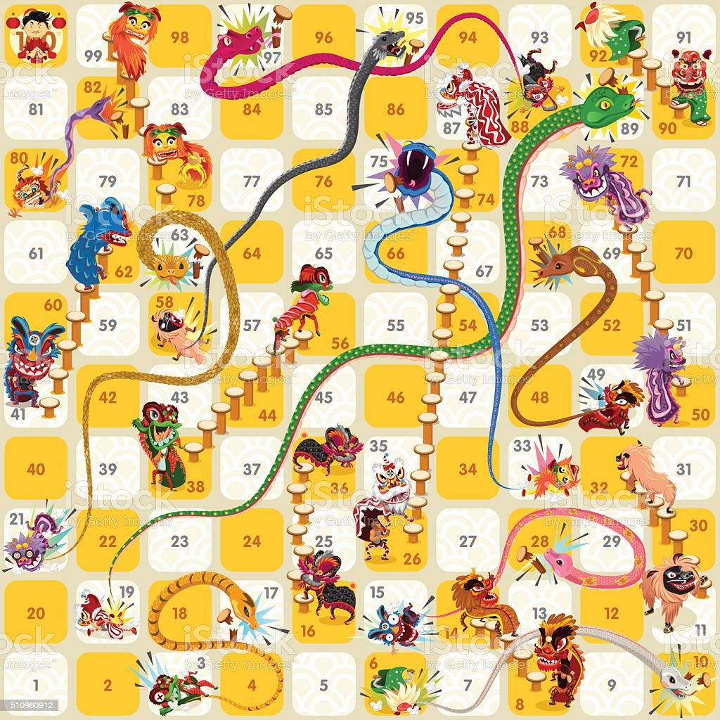 Snake and Ladder Board Game Chinese New Year Vector vector art illustration