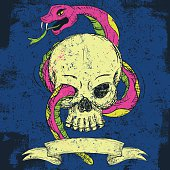 A snake and skull over an abstract background. The snake and skull are on a separate labeled layer from the background.