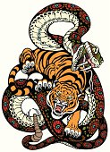snake and tiger fighting, tattoo illustration