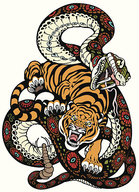 snake and tiger fight - snakes tattoos stock illustrations, clip art, cartoons, & icons
