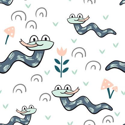 Snake baby seamless pattern. Worm scandinavian cute print
