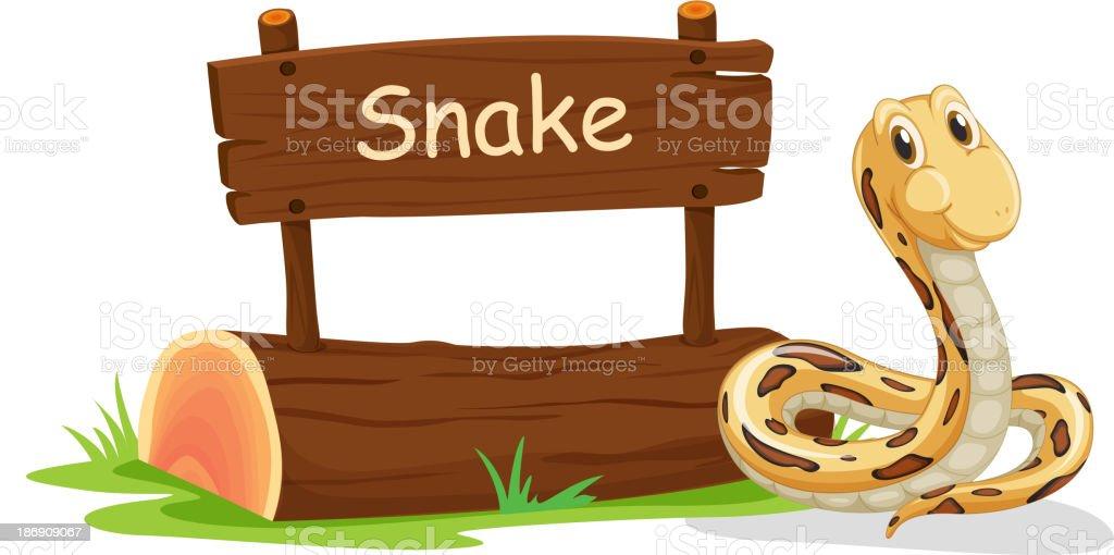 snake beside a signboard royalty-free stock vector art