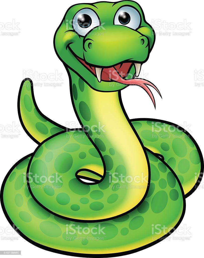 Snake Cartoon Character vector art illustration