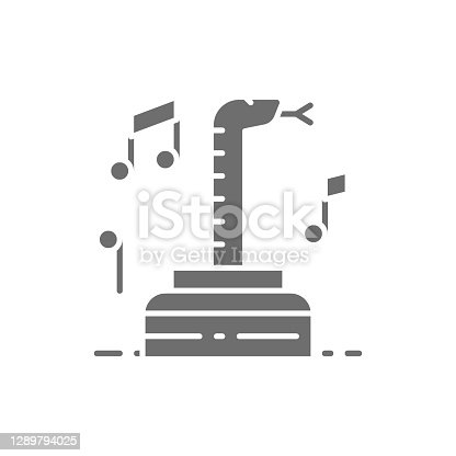 Vector snake, cobra, circus animal show grey icon. Symbol and sign illustration design. Isolated on white background