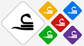 Snake Color Diamond Vector Icon. The icon is black and is placed on a diamond vector button. The button is flat white color and the background is light. The composition is simple and elegant. The vector icon is the most prominent part if this illustration. There are five alternate button variations on the right side of the image. The alternate colors are red, yellow, green, purple and blue.