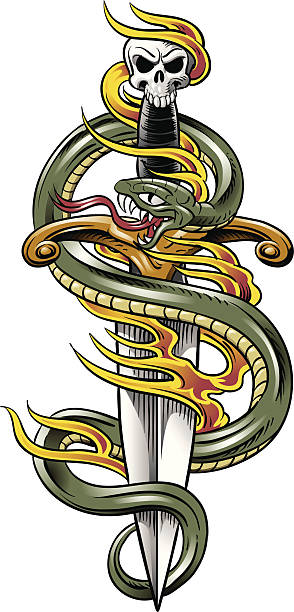 Snake & Dagger Tattoo vector art illustration