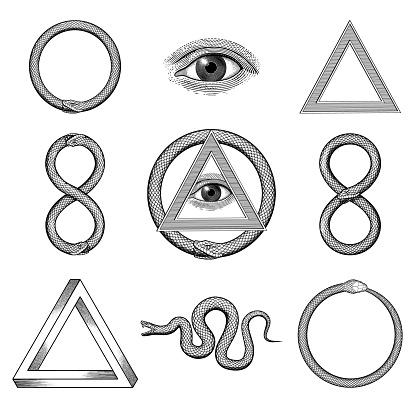 Snake, Eye, Penrose triangle, Uroboros illustrations in a vintage style