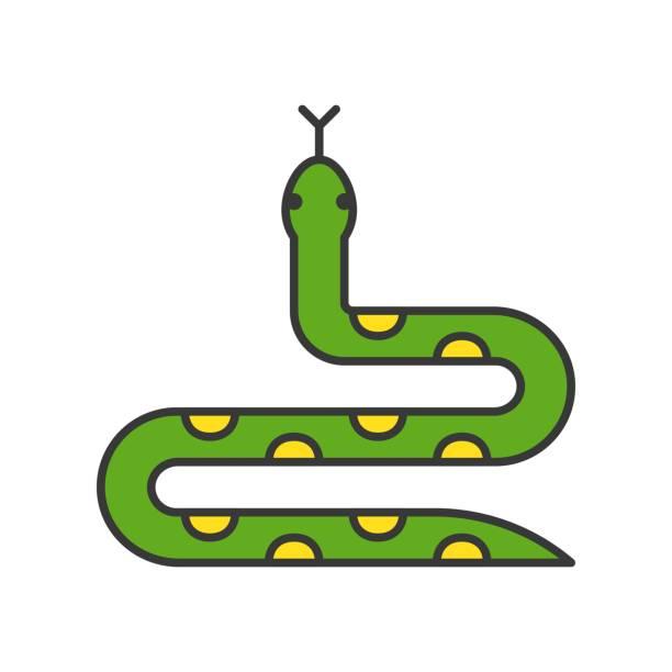 ilustraciones, imágenes clip art, dibujos animados e iconos de stock de serpiente, diseño del esquema relleno - serpiente
