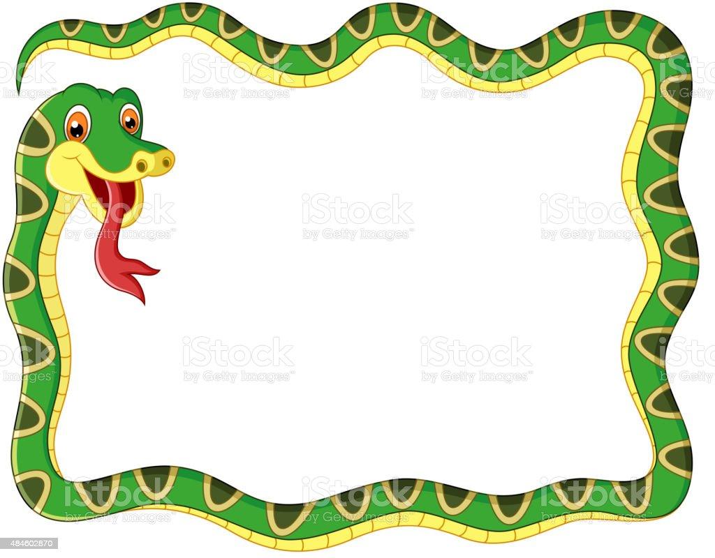 Snake frame cartoon vector art illustration