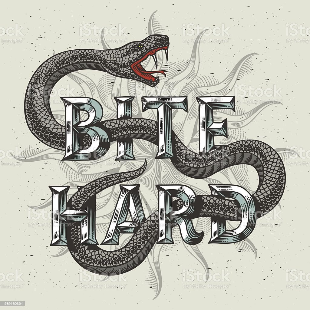 Snake graphic illustration with engraved slogan 'Bite hard'. ベクターアートイラスト