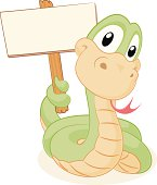 Snake holding a blank sign