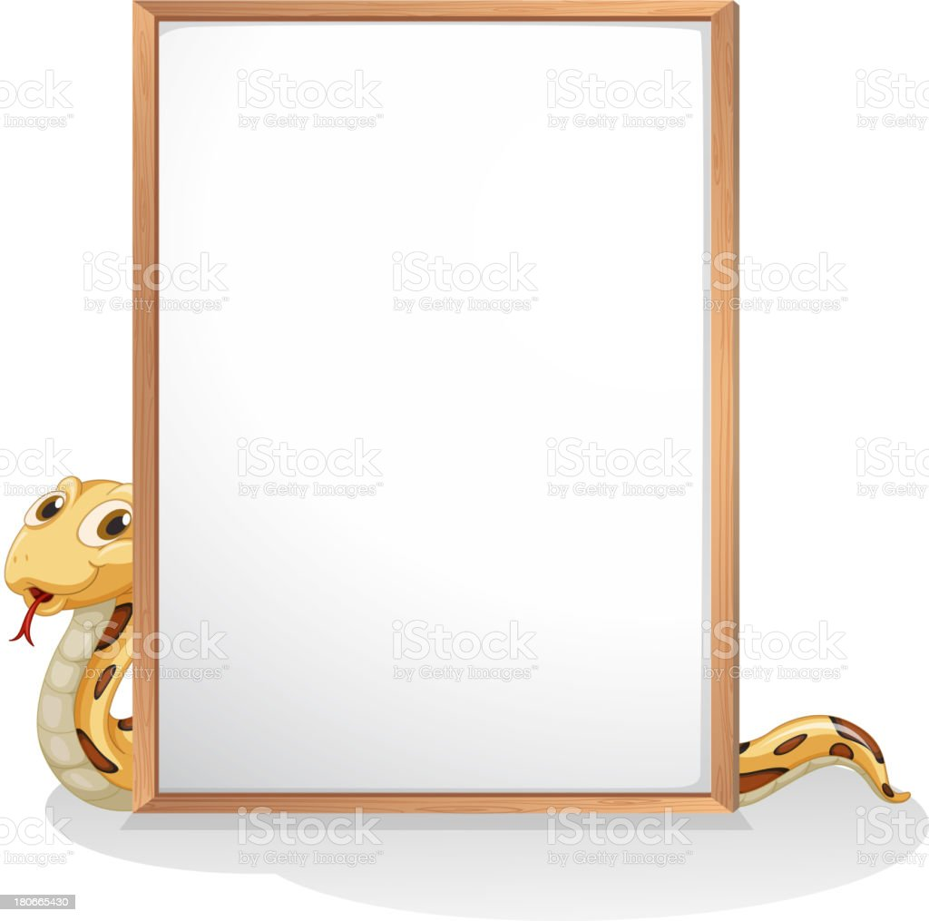 snake holding an empty whiteboard royalty-free stock vector art