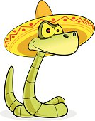Fully editable vector illustration of a cartoon snake in a sombrero.