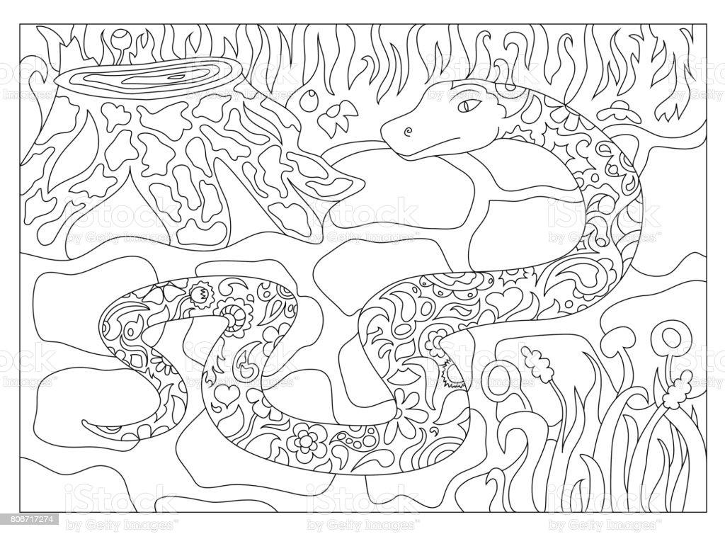 Ilustración De La Serpiente En El Bosque Adulto Para Colorear