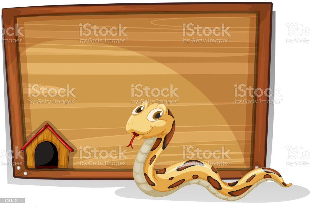 Snake in front of an empty board royalty-free snake in front of an empty board stock vector art & more images of advertisement