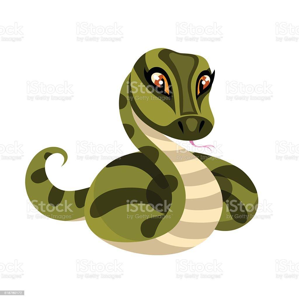 Snake isolated on white background. vector art illustration