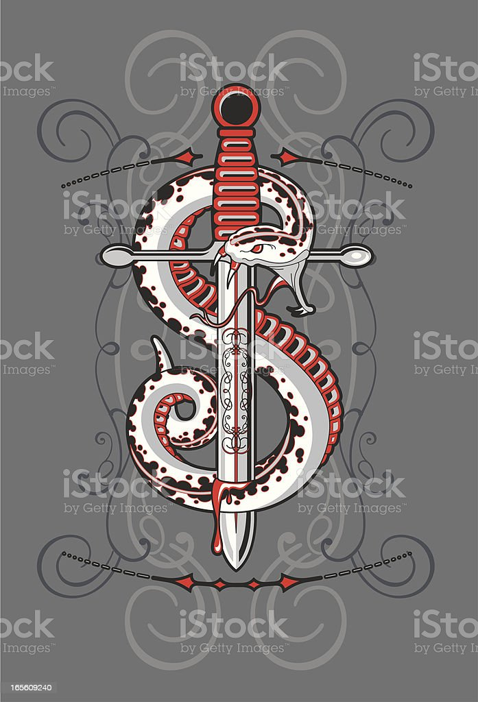snake knife vector art illustration