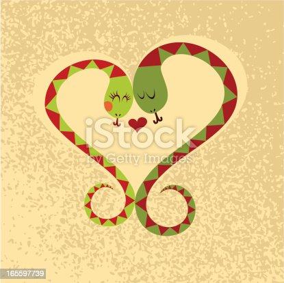 Snake love couple heart vector illustration