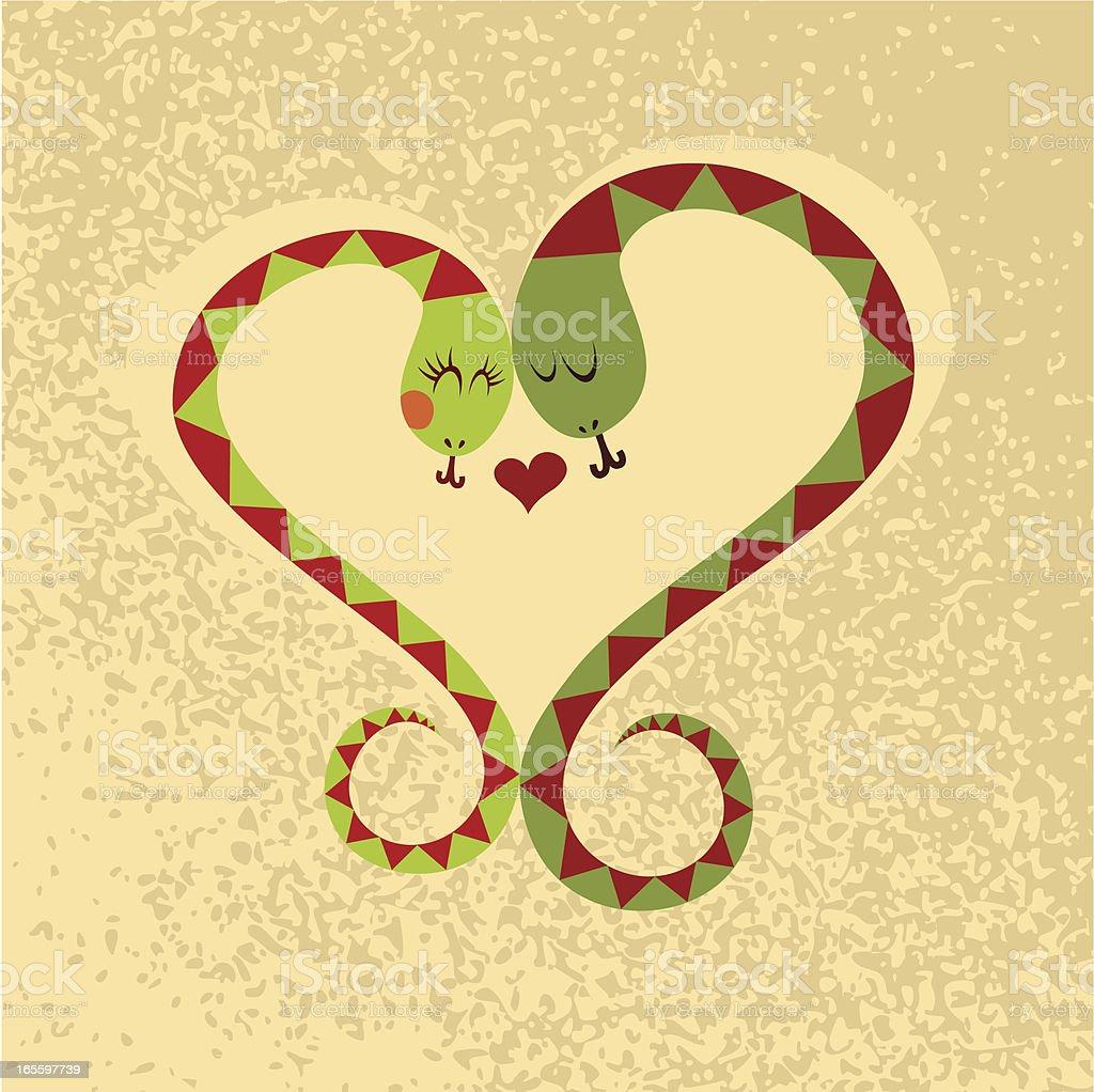Snake love couple heart vector illustration vector art illustration