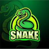 Vector illustration of Snake mascot esport logo design