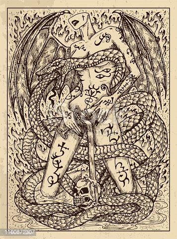 Snake. Mystic concept for Lenormand oracle tarot card.