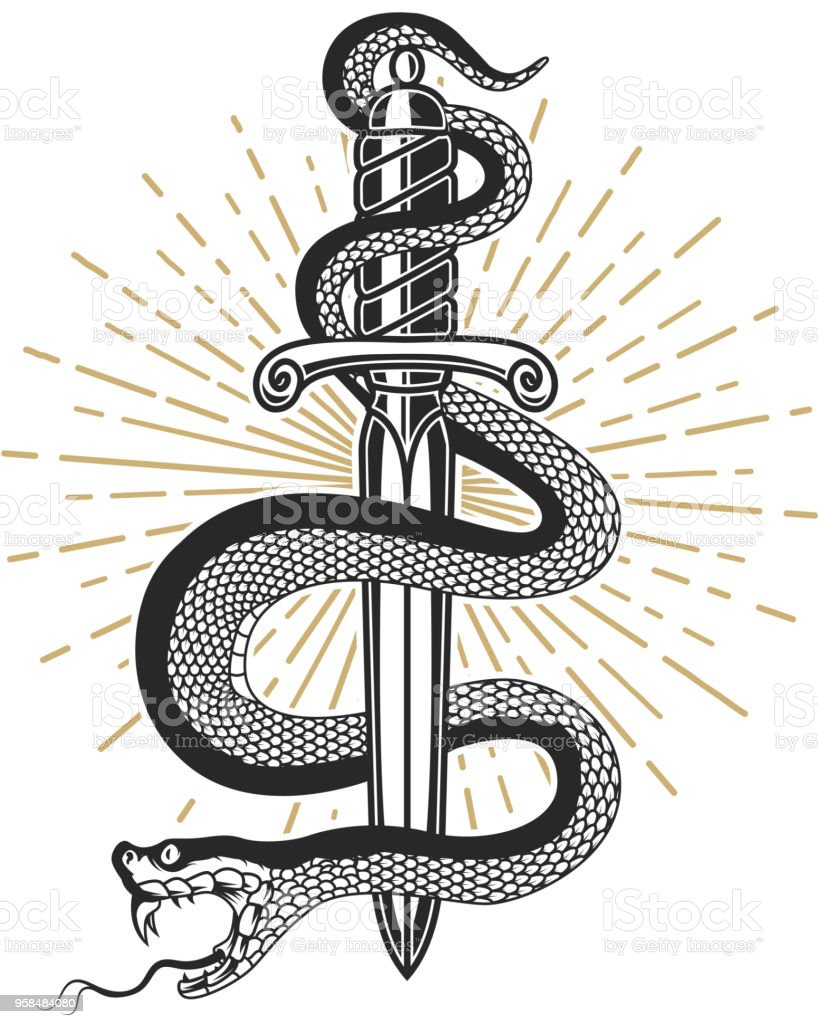 La serpiente en el cuchillo en el estilo de tatuaje. Elemento de diseño para la camiseta, póster, tarjeta, emblema, signo. - ilustración de arte vectorial