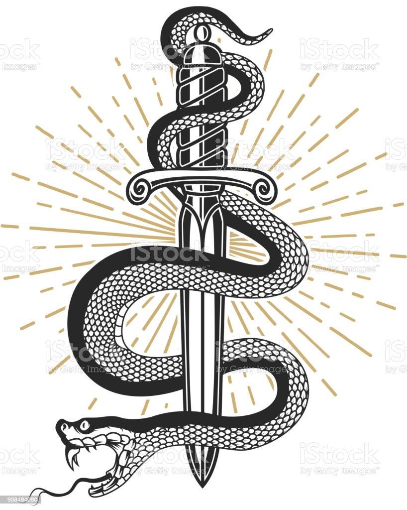 Snake on knife in tattoo style. Design element for t shirt, poster, card, emblem, sign. vector art illustration