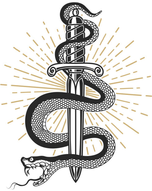snake on knife in tattoo style. design element for t shirt, poster, card, emblem, sign. - swords tattoos stock illustrations, clip art, cartoons, & icons