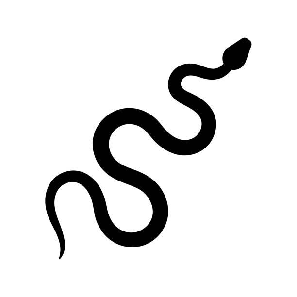 Snake silhouette. Black vector icon Snake silhouette. Black vector icon on white background snake stock illustrations