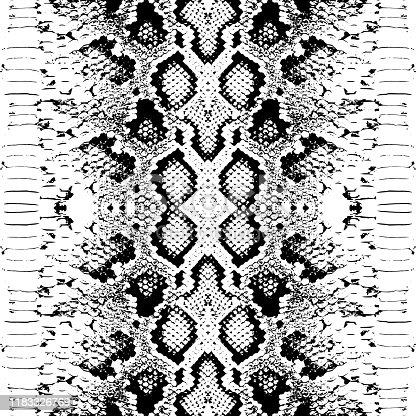 Snake skin scales texture. Seamless pattern black isolated on white background. simple ornament, Can be used for fabrics, wallpapers. Vector illustration