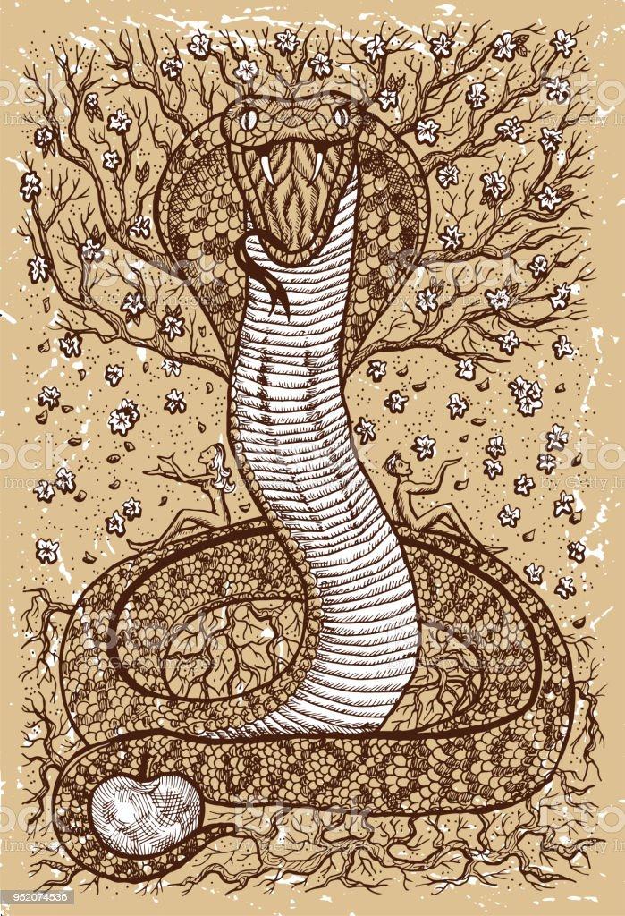 Schlange Symbol mit Eva, Adam, Baum der Erkenntnis und Blumen auf alte Textur-Hintergrund – Vektorgrafik
