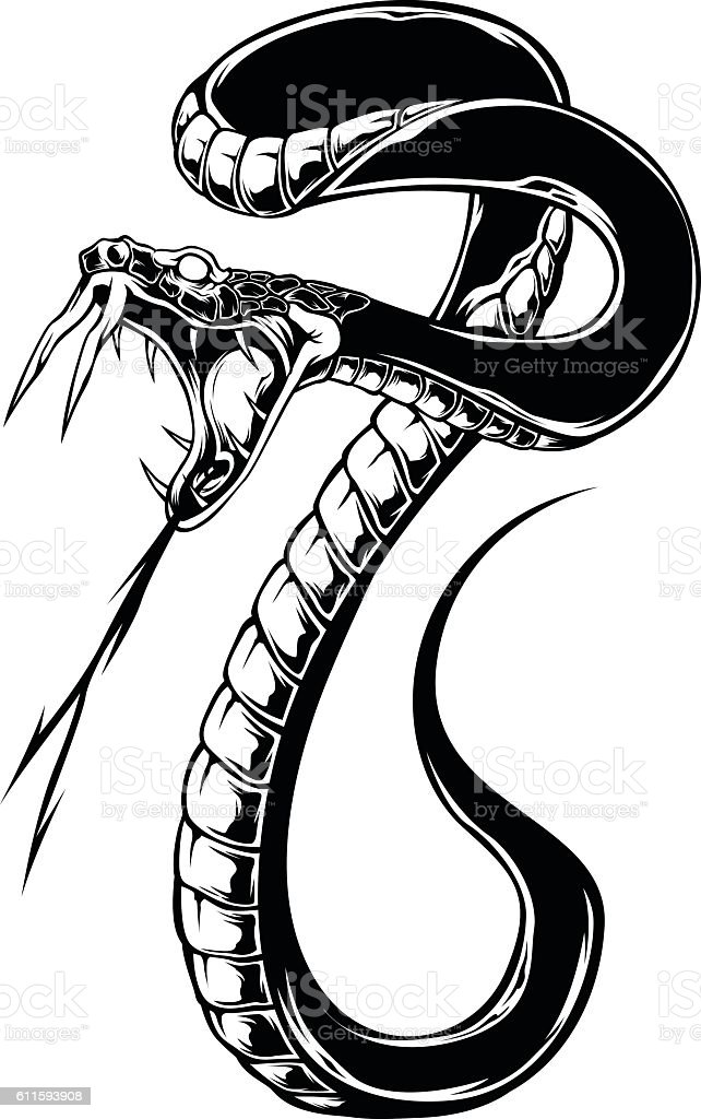 Snake Vector Black color vector art illustration