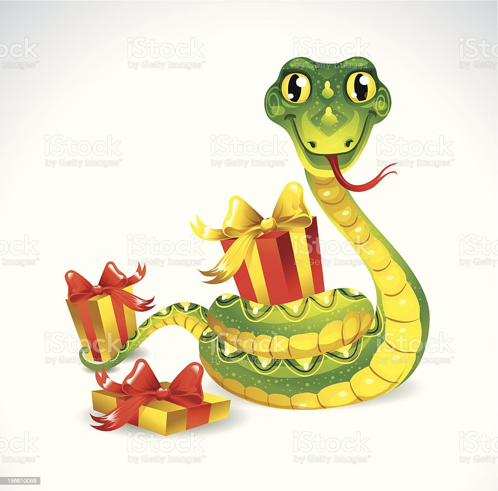 Snake with gifts. royalty-free snake with gifts stock vector art & more images of 2013