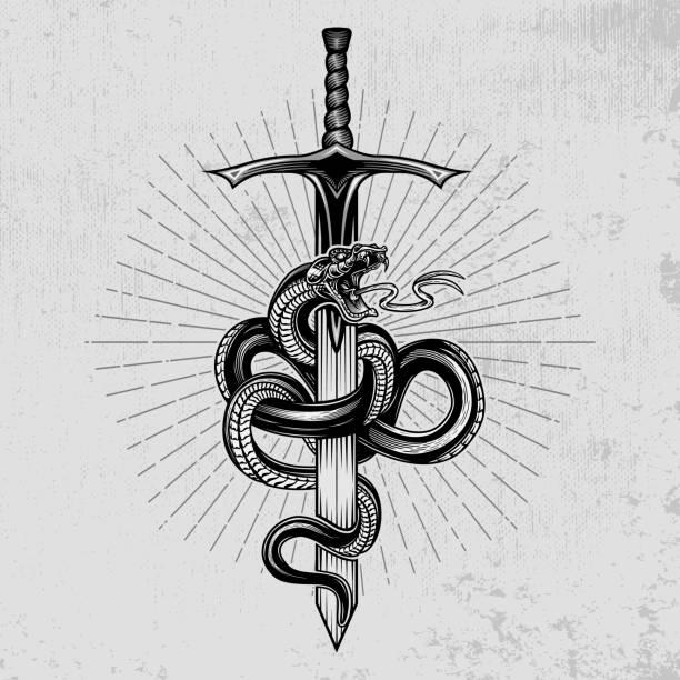 뱀이 칼을 감쌌다. - sword stock illustrations