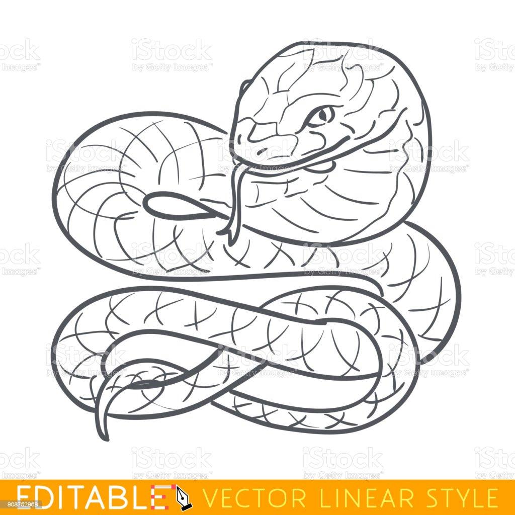 Snake zodiac sign. Serpent Chinese year. Calendar 2025. Symbol of wisdom. Editable line sketch icon. Stock vector illustration. vector art illustration