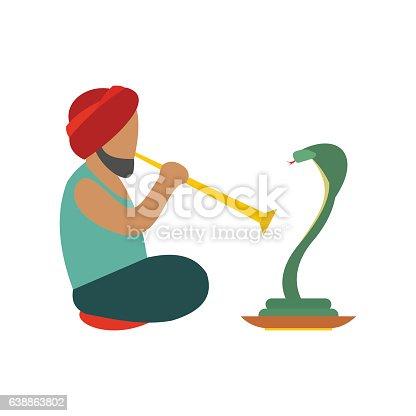 Snake-charmer flat icon isolated on white background