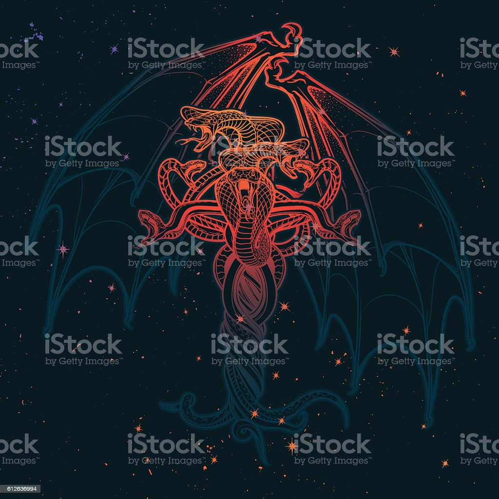 Snakes And Bat Wings Halloween Card Grunge Background Stock Vector Diagram Royalty Free Art